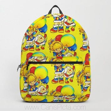 Rainbow Brite BACKPACK Pattern Back to School Pack Sprite Twink Vintage Retro Bright Yellow Balloon 80s Baby Kids Modern Trendy Fun Cute Red
