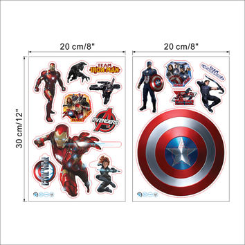 Popular hero The Avengers Iron Man Captain America Wall Sticker for Kids Room Home Decor Decals Poster Nursery Cartoon Wall Art SM6
