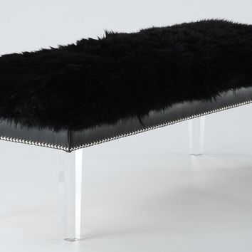 TOV Furniture Luxe Sheepskin Lucite Bench