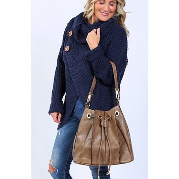Ashlyn Leather Drawstring Handbag