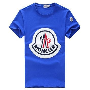 MONCLER 2018 new wild trend men and women round neck short-sleeved T-shirt blue