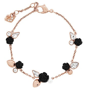 Bouquet Bracelet , rose gold PVD adorned with black resin roses and  metallic,colored c