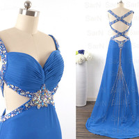 Royal Blue Prom Dresses, Custom Blue Mermaid Chiffon  Long Formal Gown, Straps Sweetheart Long Prom Gown, Mermaid Sexy Formal Dresses