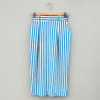 Vintage Teal and White Candy Stripe Pencil Skirt Midi Length