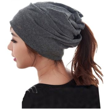 Slouch Messy Bun & Ponytail Beanie and Neck Warmer