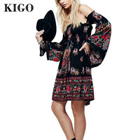Summer Bohemian Sexy Slash Neck Black Floral Boho Dress Long Sleeve Women Dress Hippie Boho Clothing Tunique Femme K4023