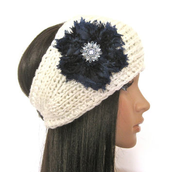 Ivory Winter White Knit Ear Warmer Headband Head Wrap with a Navy Chiffon Flower and Matching Rhinestone Accent