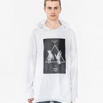 Balance Triangle Long-Sleeve Hooded Tee in White