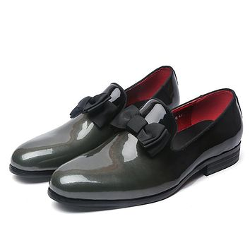 Luxury Leather Loafer Shoes With Bow Tie