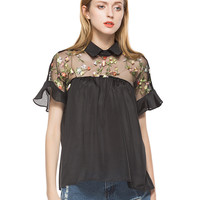 Black Embroidered Sheer Mesh Insert Tie Back Collar Top