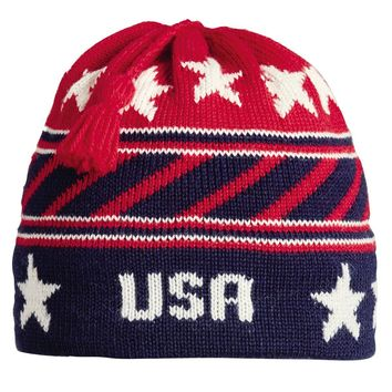 USA Stripes Tassel Beanie