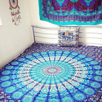 "Indian Ethnic Blue Peacock Mandala Cotton Bedsheet Tapestry Throw Dorm Wallhanging Beach Blanket SINGLE 84""x 56"" UK SELLER!><><><>>"