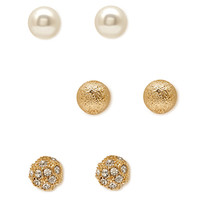 FOREVER 21 Textured Round Stud Set Gold/Cream One