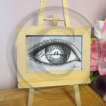 Framed Original Charcoal Illustration with Easel ~ Eye Drawing, Love Birds, Tree, Surreal Art, Fantasy Art, Abstract, Nature Art, Love Art