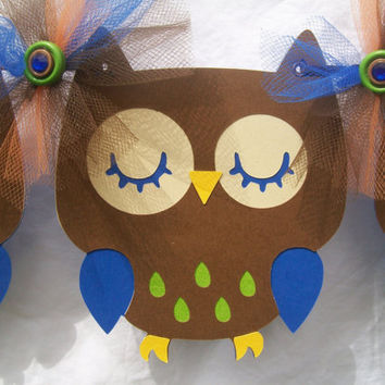 Owl birthday banner, owl baby shower banner, brown, blue, lime green, orange