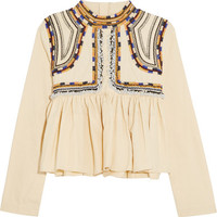 Isabel Marant - Sachi embroidered cotton-twill top