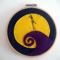 The Nightmare Before Christmas Jack Skellington in the Hill Embroidery Hoop.