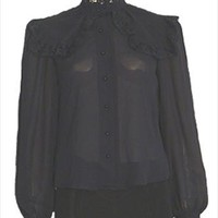 Victorian Style Black Vintage 70s Top