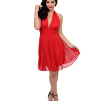 1950s Style Cherry Red Halter Pleated Marilyn Swing Dress