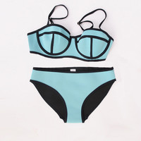 Blue Neoprene Bikini SET- FINAL SALE