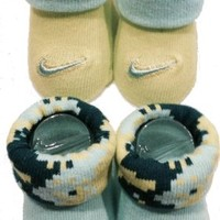 New Nike Baby Booties Crib Shoes, Blue Green, 0-6 Months 2 Pair.