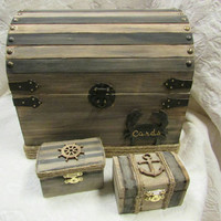 Original nautical wedding card box and 2 ring boxes stained with black stripes anchor wheel crab