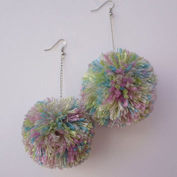 Extra Large Fuzzy PomPom Earrings