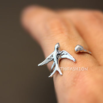 Swallow Ring Women's Girl's Animal Ring Jewelry Adjustable Wrap Ring gift idea