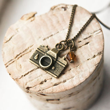 Camera Necklace- Bronze Photographer Charm- Vintage Style Jewelry- Holiday Sale- Photography- FREE WORLDWIDE SHIPPING