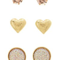 Faceted Stone & Heart Stud Earrings - 3 Pack