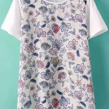 White Short Sleeve Floral T-Shirt