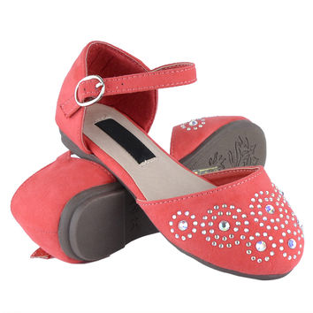 Kids Ballet Flats Rhinestone Swirl Studs Ankle Strap Comfort Shoes Orange SZ