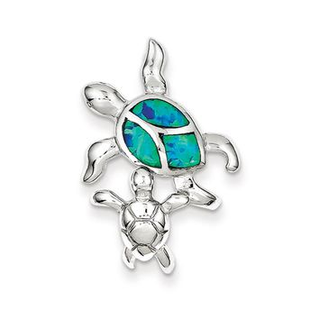 Sterling Silver and Created Opal Sea Turtles Pendant