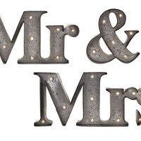 Exclusively Styled Set of 3 Mr.& Mrs. Lighted Sign