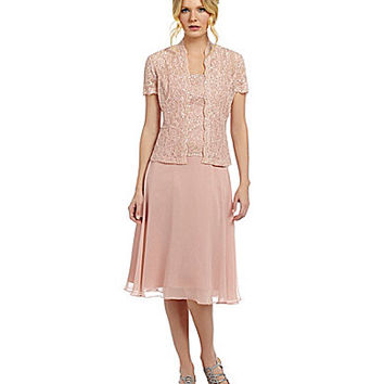 Emma Street 2-Piece Lace Chiffon Jacket Dress - Blush