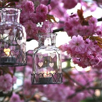 Hanging Heart Bottle Tea Light Holder