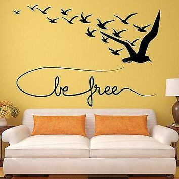 Wall Decal Be Free Birds Coolest Room Decor Vinyl Stickers Art Mural Unique Gift (ig2543)