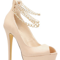 Nude Gold Chained Ankle Strapped Platform Heels