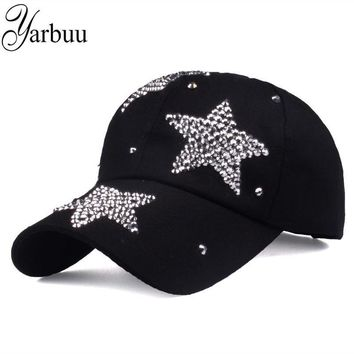 Trendy Winter Jacket [YARBUU] new brand baseball caps high quality Rhinestone cap with three stars Snapback Casquette hat for women Lady solid color AT_92_12