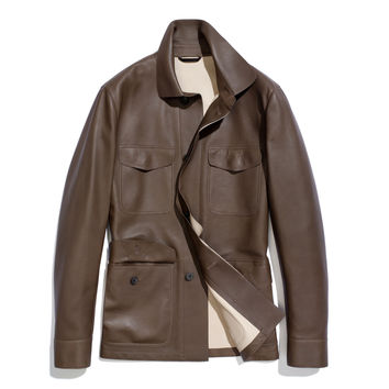 field jacket calf leather & plongé | Loro Piana