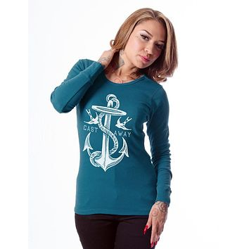 Nautical Beach Rope Anchor & Swallow Castaway Thermal Long-Sleeve Top