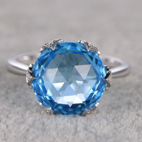 12mm Round Blue Topaz Engagement Ring 14K White Gold Diamond Wedding Ring New Design