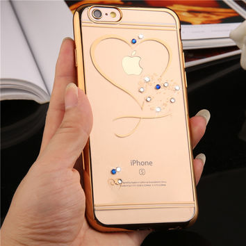 Crystal Phone Cases For iphone 7 Rose Gold Plating Glitter Ultra Thin Clean Soft  Diamond Cover For iphone 7 7 plus 6 6s plus