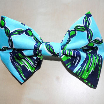 "Designer Lilly Pulitzer ""Macrame Me"" Fabric Print Hair Bow"