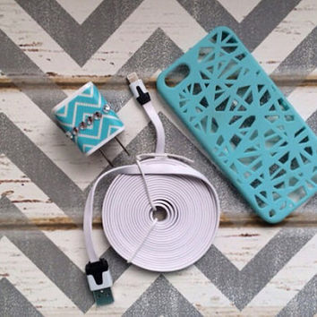 New Super Cute Jeweled Turquoise  & White Chevron Designed Dual USB Wall Connector + 10ft Flat White iPhone 5/5s/5c Cable Cord + Case