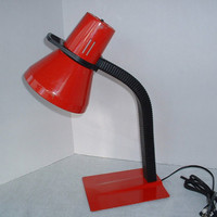 Retro, Red Desk Lamp, Gooseneck, Vintage in Sturdy Metal