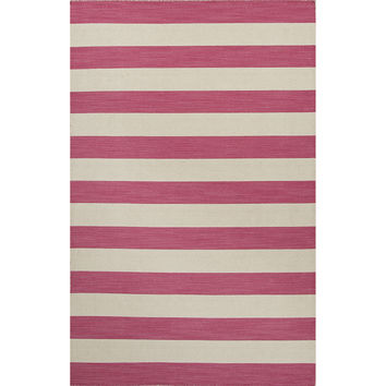 Jaipur Rugs FlatWeave Stripe Pattern Pink/Ivory Wool Area Rug PV51 (Rectangle)