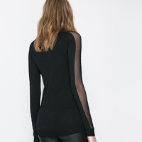 SWEATER WITH TRANSPARENT SECTIONS ON THE SLEEVES - Knitwear - Woman | ZARA United States