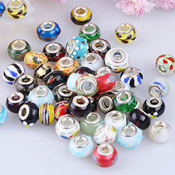 Glass Lampwork beads assorted glass lampwork beads 50  Lampwork Murano Silver Core Glass Beads