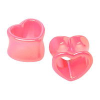 Pink Metallic Heart Eyelet Plug 2 Pack
